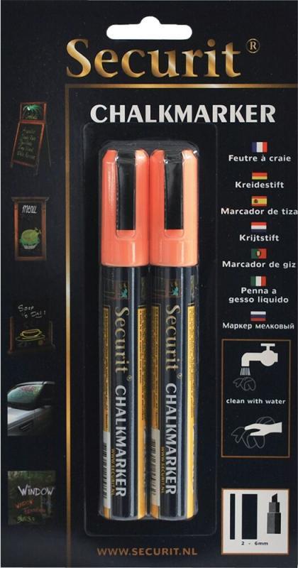 Securit® Liquid chalkmarker orange - medium 2-6mm Nib