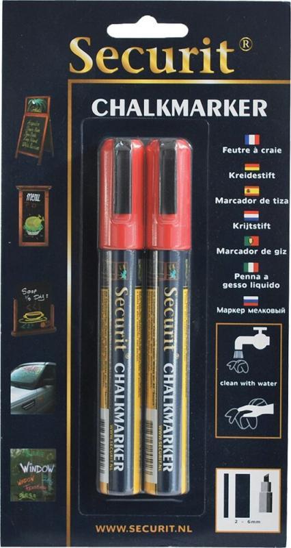 Securit® Liquid chalkmarker red - medium 2-6mm Nib
