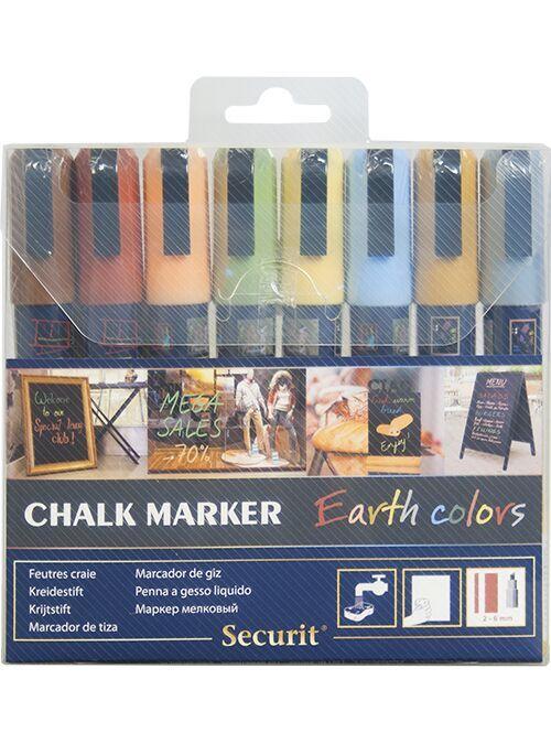 Securit® Liquid chalkmarker earth tone set of 8 - medium 2-6mm Nib - Wallet
