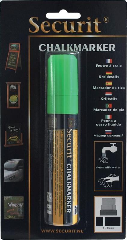 Securit® Liquid chalkmarker green - large 7-15mm Nib - Blister card