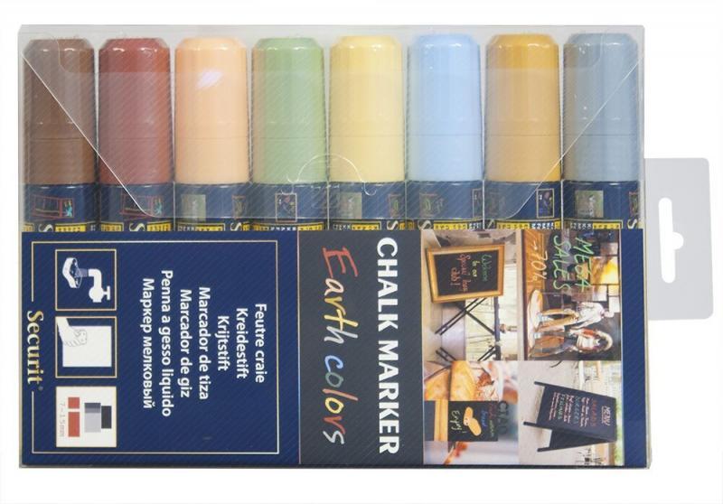 Securit® Liquid chalkmarker earth tone set of 8 - large 7-15mm Nib - Wallet