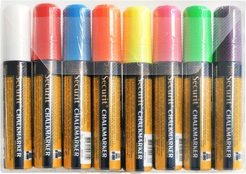 Securit® Liquid chalkmarker coloured - 7-15mm Nib -  white, red, blue, yellow, green, pink, orange, violet - - Set of 8