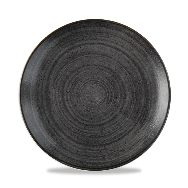 "Stonecast Raw Black Evolve Coupe Plate 8.67"" Box 12"