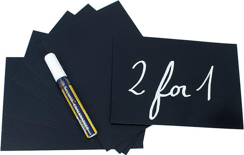 Chalkboard tags A5, incl. chalkmarker, 4 spike,and 2 transparent holders, set of 10