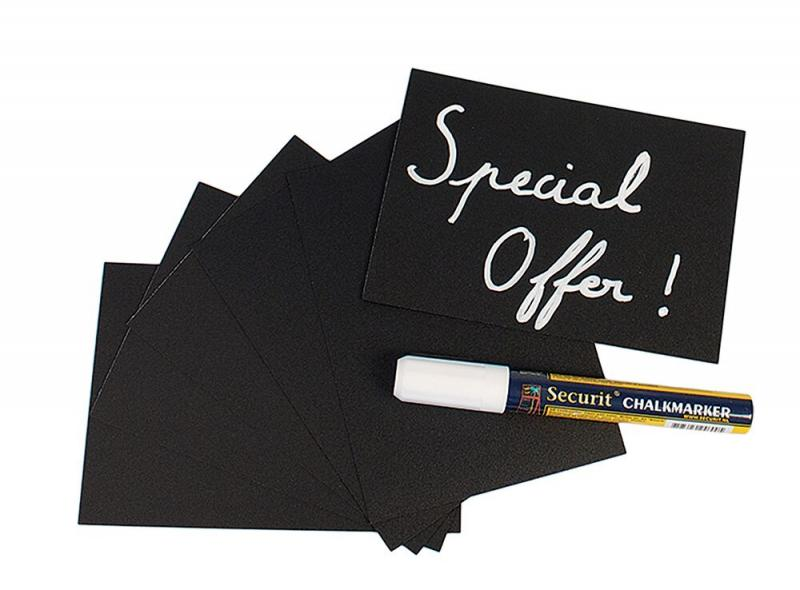 Chalkboard tags A6,incl. chalkmarker,4 spike-, 2 transparent holders set of 20
