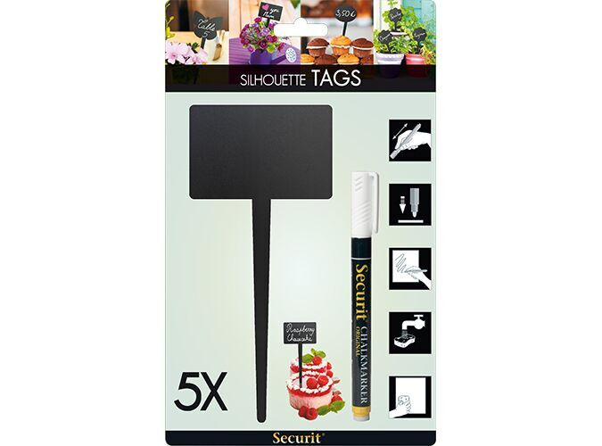 Silhouette rect. chalkboard tag, including chal...