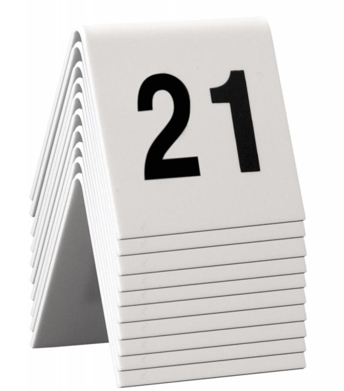 Table Numbers, 21-30, White Acrylic standards with black numbers,set of 10