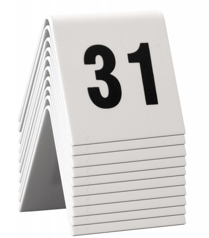 Table Numbers, 31-40, White Acrylic standards with black numbers,set of 10