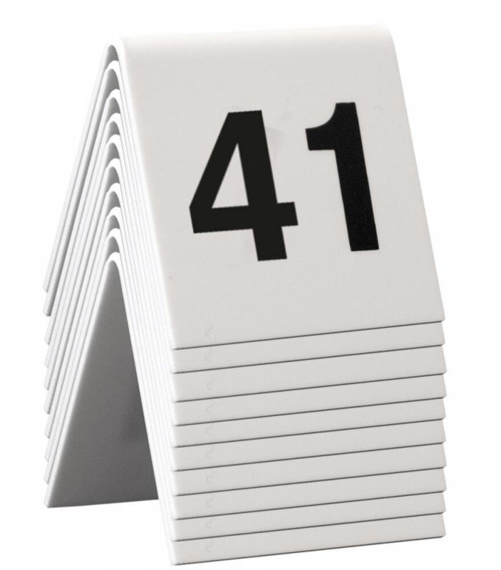Table Numbers, 41-50, White Acrylic standards with black numbers,set of 10