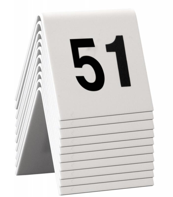 Table Numbers, 51-60, White Acrylic standards with black numbers,set of 10
