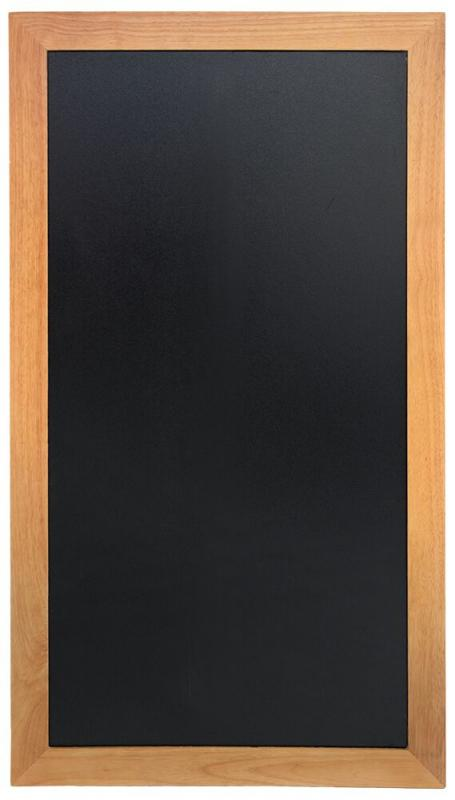 Securit® Long hard wood chalkboard - with lacquered teak finish - wall mounting screws included