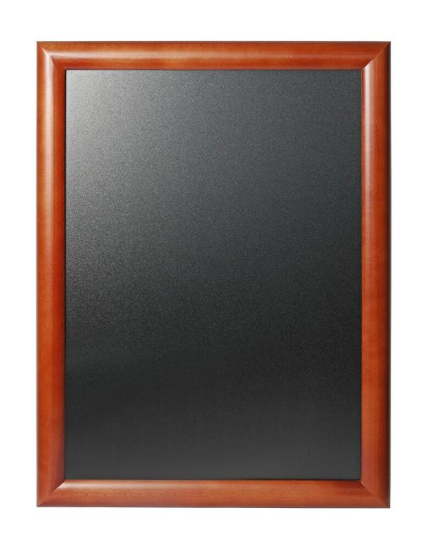 Hard wood chalkboard w lacquered brown finish w...