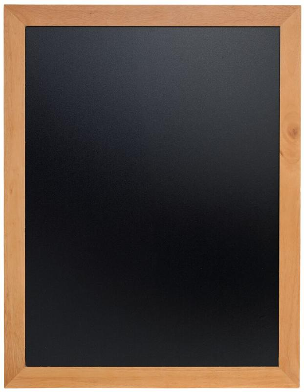 Securit® Universal hard wood chalkboard -  with lacquered teak finish - wall mounting screws included