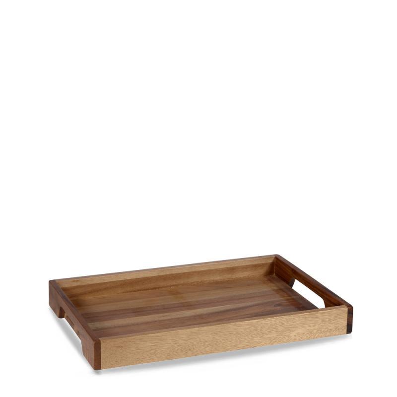 "Wood  Solid Base Handled Tray 10 1/5""X15 3/5"" Box 4"