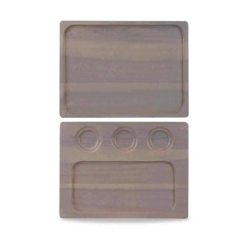 Wood Square Grey Deli Board 32.6Cmx24 Cm Box 4