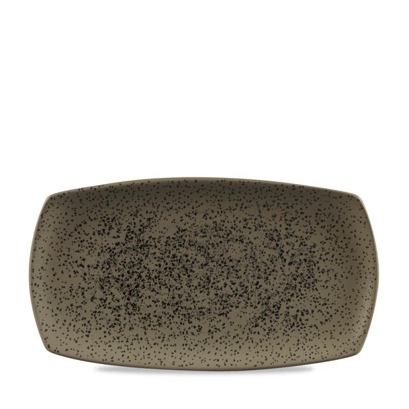 """Menu Shades Caldera Flint Grey Flat Rectangle Plate 14X7.5"""" Box 6"""