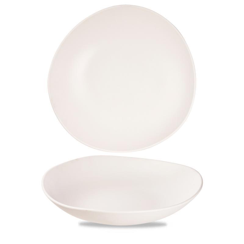 "Plastic  White Trace Melamine Bowl 15"" Box 2"
