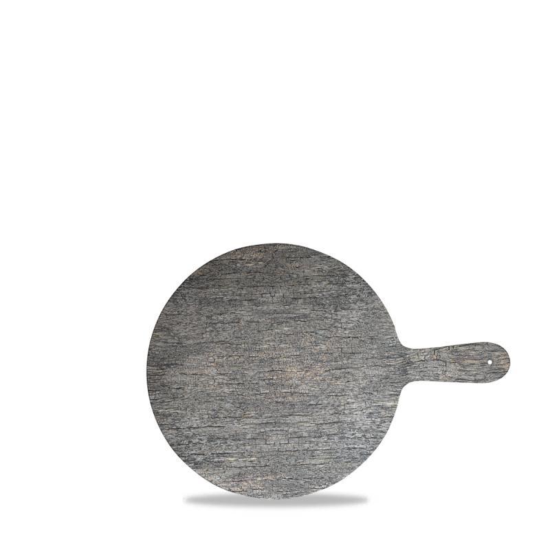 "Plastic  Distressed Wood Round Paddle 12.5"" Box 4"