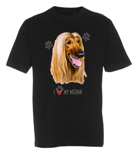 T-shirt med Afghanhund