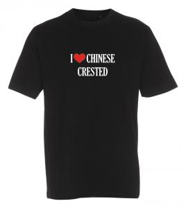 """T-shirt """"I Love"""" Chinese Crested"""