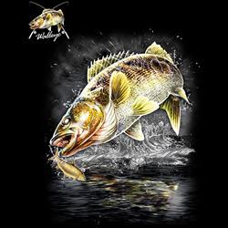 Huvjacka med fiskemotiv