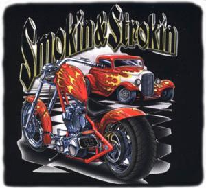 T-shirt med mc och bilmotiv