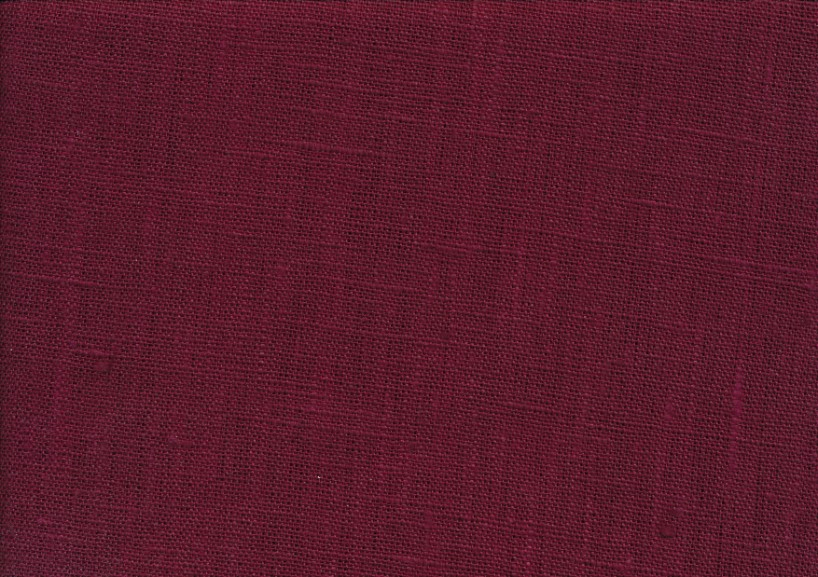 Pure Linen Fabric wine red color 624