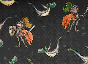 PRE-ORDER - T6211 Sweatshirt Fabric Knights and Dragons
