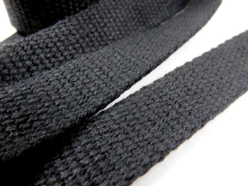 B1100 Kraftigt bomullsband 20 mm svart