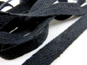 B246 Herringbone Cotton Tape 10 mm black
