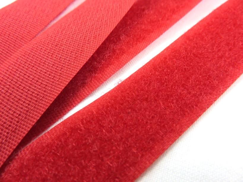 B336 Kardborrband 20 mm röd (mjuk)