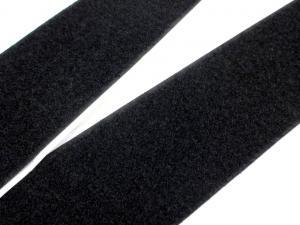 B337 Kardborrband självhäftande 50 mm svart (mjuk)