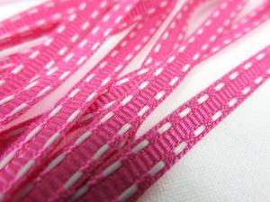 B341 Decorative Ribbon Lines 5 mm fuchsia/white