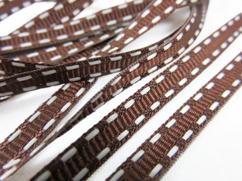B341 Dekorationsband streck 5 mm brun/vit