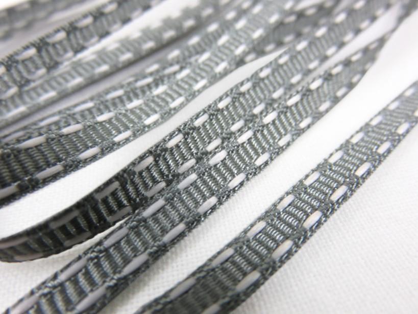 B341 Dekorationsband streck 5 mm grå/vit