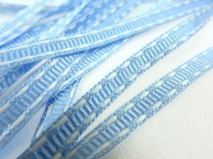 B341 Dekorationsband streck 5 mm ljusblå/vit