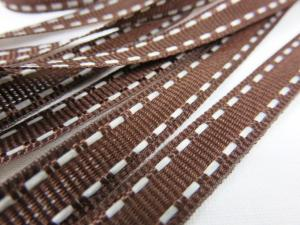B342 Decorative Ribbon Lines 9 mm dark brown/white