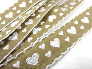 B353 Band 20 mm hjärta beige