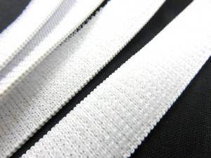 B371 Kardborrband elastiskt 20 mm vit (mjuk)