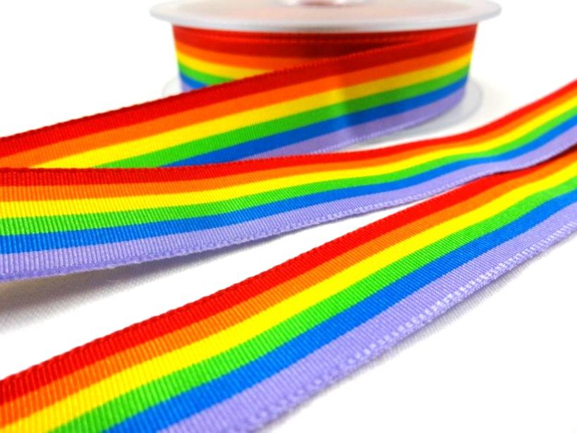 B436 Ripsband regnbåge 18 mm