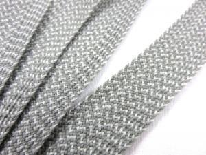 B537 Vävt akrylband 20 mm grå/vit
