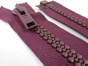 D004 Plastic Zipper 60 cm Opti One-way Separating plum