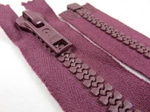 D004 Plastic Zipper 50 cm Opti One-way Separating plum