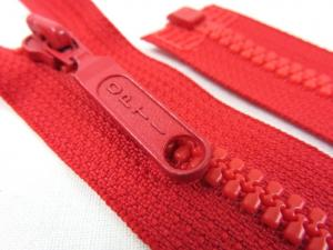 D055 Plastic Zipper 25 cm Opti One-way Separating red