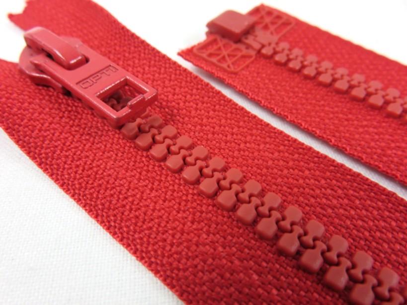 D057 Blixtlås 68 cm Opti delrin delbar 6 mm röd