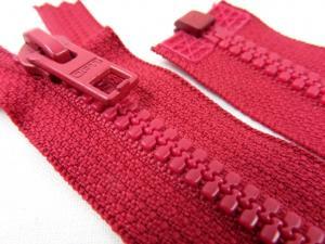 D057 Plastic Zipper 64 cm Opti One-way Separating dark red