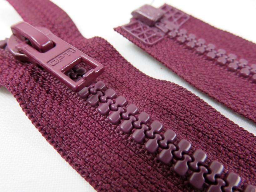 D057 Plastic Zipper 48 cm Opti One-way Separating wine red