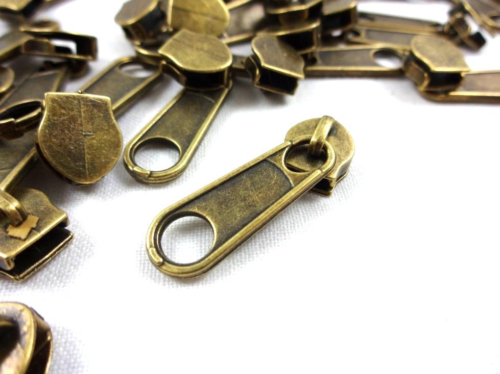 D202 Zipper Slider for Continuous Zipper D202 and D207 antique gold