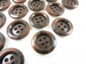 K009 Knapp 15 mm brunmarmorerad