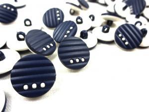 K011 Knapp 15 mm mörkblå/vit